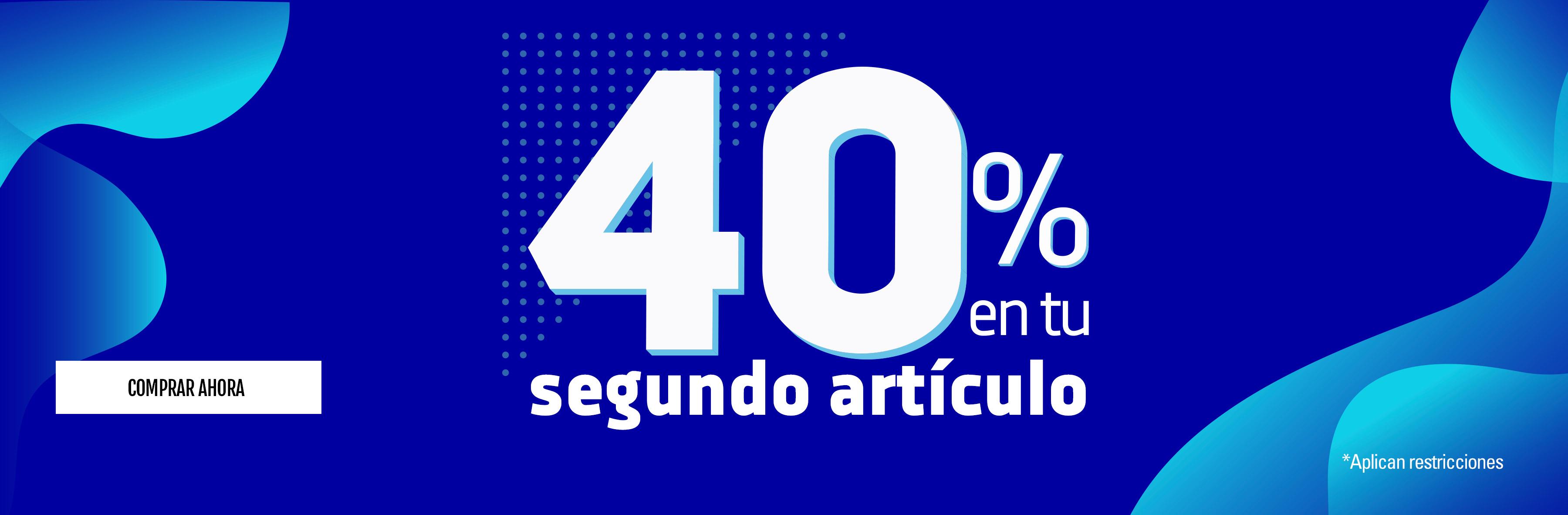 40% de descuento en el segundo articulo