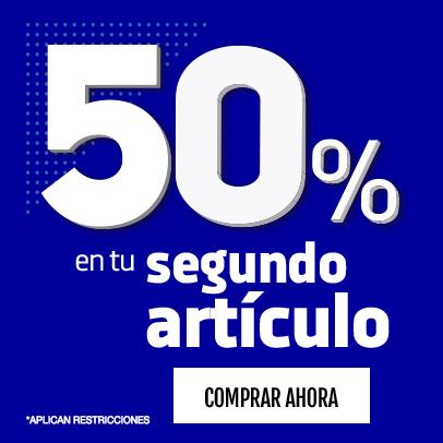 50% de descuento en el segundo articulo